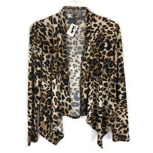 Clara Sun Woo Leopard Shimmer Open Front Top Sz S